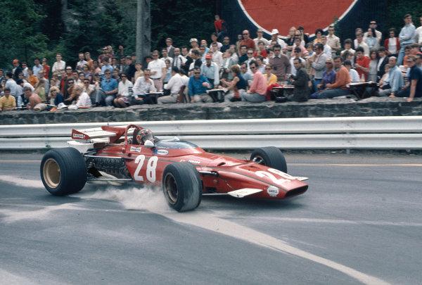 1970 Belgian Grand Prix.Spa-Francorchamps, Belgium.5-7 June 1970.Ignazio Giunti (Ferrari 312B) 4th position on his Grand Prix debut.Ref-70 BEL 02.World Copyright - LAT Photographic