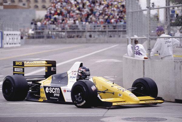 1990 United States Grand Prix.Phoenix, Arizona, USA.9-11 March 1990.Paolo Barilla (Minardi M189 Ford).Ref-90 USA 61.World Copyright - LAT Photographic