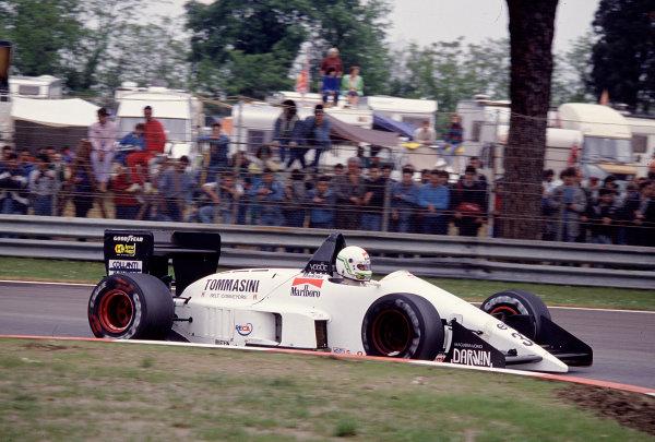 1988 San Marino Grand Prix.Imola, Italy.29/4-1/5 1988.Stefano Modena (Eurobrun ER188 Ford).Ref-88 SM 27.World Copyright - LAT Photographic