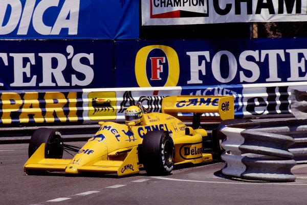 1987 Monaco Grand Prix. Monte Carlo, Monaco. 28th - 31st May 1987.  Ayrton Senna (Lotus 99T Honda),1st position, action. Ref-87 MON 50.World Copyright - LAT Photographic