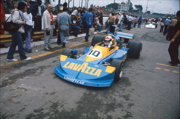 Interlagos, Sao Paulo, Brazil. 23-25 January 1976. Lella Lombardi, March 761 Ford. Ref: 76BRA04. World Copyright - LAT Photographic