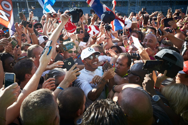 Autodromo Nazionale di Monza, Italy. Sunday 3 September 2017. Lewis Hamilton, Mercedes AMG, gets mobbed by fans. World Copyright: Steve Etherington/LAT Images  ref: Digital Image SNE15578