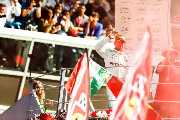 Autodromo Nazionale di Monza, Italy. Sunday 03 September 2017. Lewis Hamilton, Mercedes AMG, 1st Position, on the podium. World Copyright: Sam Bloxham/LAT Images  ref: Digital Image _W6I5767