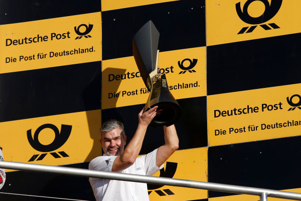 2017 DTM Round 9  Hockenheimring, Germany  Sunday 15 October 2017. Champions Podium: Winning Manufacturer Audi with Dieter Gass, Head of DTM Audi Sport  World Copyright: Alexander Trienitz/LAT Images ref: Digital Image 2017-DTM-HH2-AT2-2170