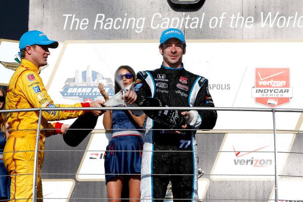 8-10 May, 2014, Indianapolis, Indiana, USA Winner Simon Pagenaud with champagne ©2014, Michael L. Levitt LAT Photo USA