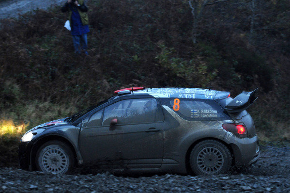 Kimi Raikkonen (FIN) Citroen D3 WRC on stage 10. FIA World Rally Championship, Rd13, Wales Rally GB, Cardiff, Wales, Day Two, 11 November 2011.