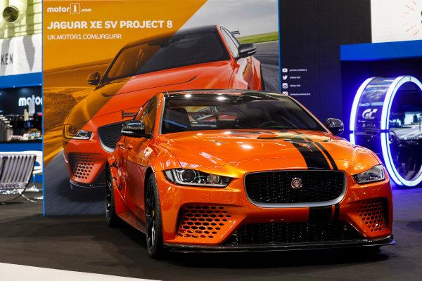 Autosport International Exhibition. National Exhibition Centre, Birmingham, UK. Thursday 11th January 2017. The Jaguar XE SV Project 8.World Copyright: Glenn Dunbar/LAT Images Ref: _X4I4045