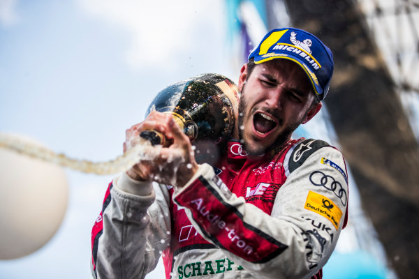 2017/2018 FIA Formula E Championship. Round 5 - Mexico City ePrix. Autodromo Hermanos Rodriguez, Mexico City, Mexico. Saturday 3 March 2018. Daniel Abt (GER), Audi Sport ABT Schaeffler, Audi e-tron FE04, sprays the champagne after winning the race. Photo: Sam Bloxham/LAT/Formula E ref: Digital Image _W6I3704