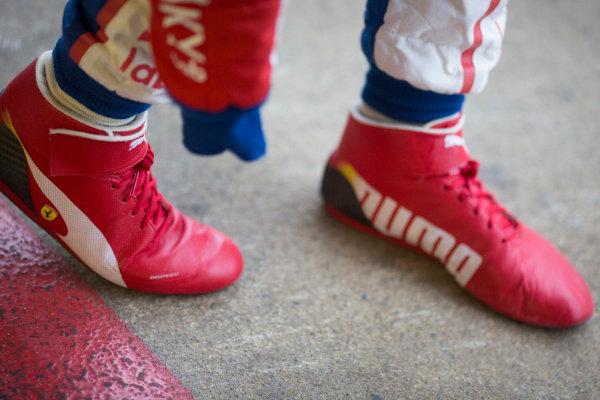 2016 Barcelona Testing. Circuit de Catalunya, Barcelona, Spain. Thursday 21st April. Antonio Fuoco (ITA, Trident) race boots.  World Copyright: Alastair Staley/LAT Photographic. ref: Digital Image 585A7632