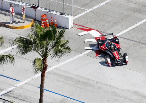 2014/2015 FIA Formula E Championship. Long Beach ePrix, Long Beach, California, United States of America. Friday 3 April 2015 Bruno Senna (BRA)/Mahindra Racing - Renault Spark ST_01  Photo: Jed Leicester/LAT/Formula E ref: Digital Image _JL20235