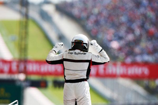 2014 Porsche Supercup. Sunday 2 November 2014. Earl Bamber, No.19 Fach Auto Tech, celebrates championship victory. World Copyright: /LAT Photographic. ref: Digital Image _W2Q7106