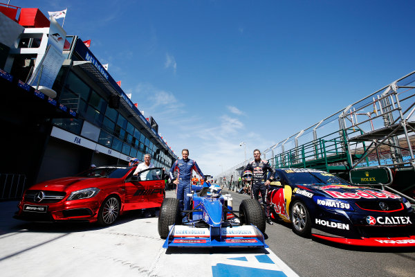 Albert Park, Melbourne, Australia. Wednesday 11 March 2015. Mick Doohan, Cameron McConville, and Craig Lowndes, pose at the end of the pitlane. World Copyright: Charles Coates/LAT Photographic. ref: Digital Image _J5R8871