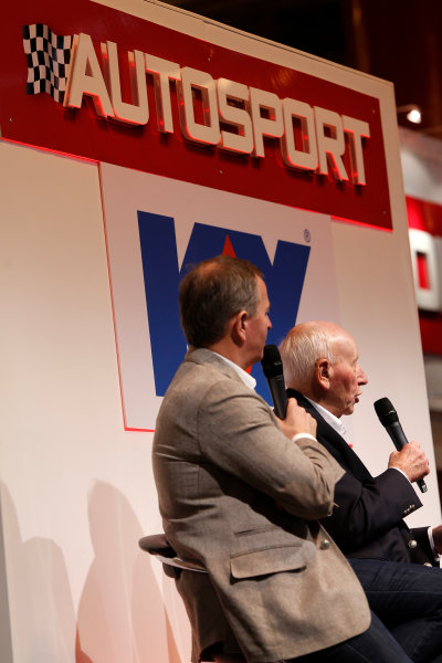 Autosport International Show NEC, Birmingham.  Sunday 12 January 2014. John Surtees and Martin Brundle on the stage. World Copyright:Sam Bloxham/LAT Photographic ref: Digital Image _SBL2728