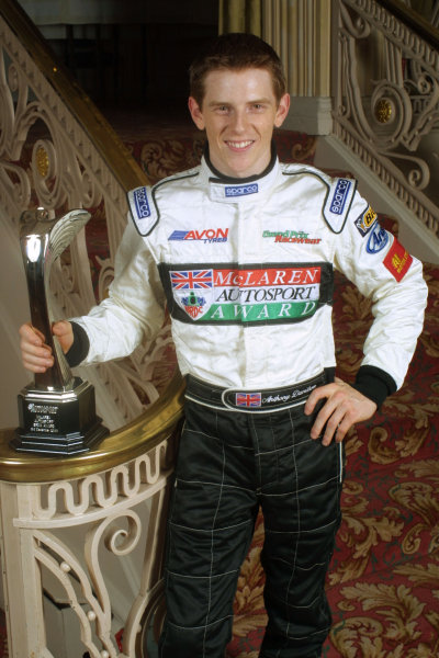 2000 Autosport Awards. Grovesnor House Hotel, Park Lane, England. 3 December 2000. Anthony Davidson wins the Autosport/McLaren BRDC Young Driver of The Year Award. World Copyright: Matt Jennings / LAT Photographic. Ref: Colour Transparency.