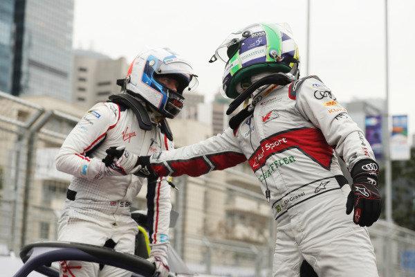 Lucas Di Grassi (BRA), Audi Sport ABT Schaeffler, 3rd position, congratulates race winner Sam Bird (GBR), Envision Virgin Racing in parc ferme
