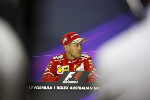 Race winner Sebastian Vettel (GER) Ferrari in the Press Conference at Formula One World Championship, Rd1, Australian Grand Prix, Race, Albert Park, Melbourne, Australia, Sunday 26 March 2017.