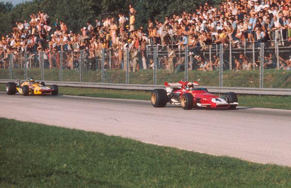 1970 Italian Grand Prix.Monza, Italy.4-6 September 1970.Clay Regazzoni (Ferrari 312B) 1st position followed by Ronnie Peterson (March 701 Ford).Ref-70 ITA 05.World Copyright - LAT Photographic