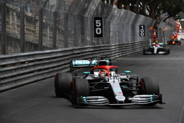 Lewis Hamilton, Mercedes AMG F1 W10, leads Valtteri Bottas, Mercedes AMG W10
