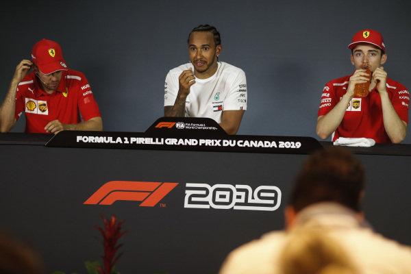 Sebastian Vettel, Ferrari, Lewis Hamilton, Mercedes AMG F1 and Charles Leclerc, Ferrari in Press Conference