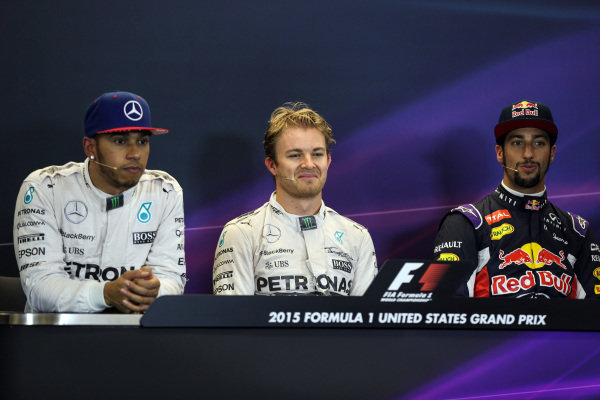 (L to R): Lewis Hamilton (GBR) Mercedes AMG F1, Pole sitter Nico Rosberg (GER) Mercedes AMG F1 and Daniel Ricciardo (AUS) Red Bull Racing in the press conference at Formula One World Championship, Rd16, United States  Grand Prix, Qualifying, Austin, Texas, USA, Sunday 25 October 2015.