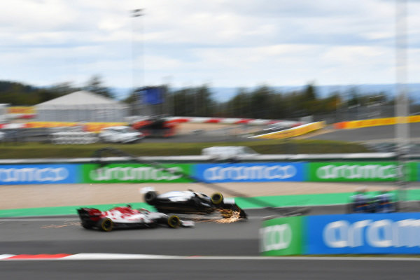 George Russell, Williams FW43, is launched into the air by Kimi Raikkonen, Alfa Romeo Racing C39. Raikkonen received a time penalty for causing an avoidable collision