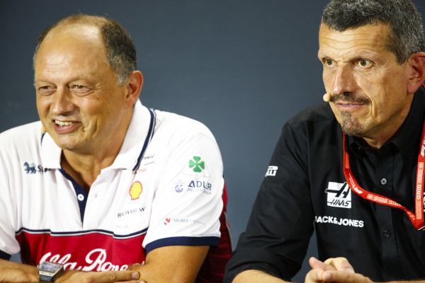 Frederic Vasseur, Team Principal, Alfa Romeo Racing, and Guenther Steiner, Team Principal, Haas F1, in the Team Principals' Press Conference