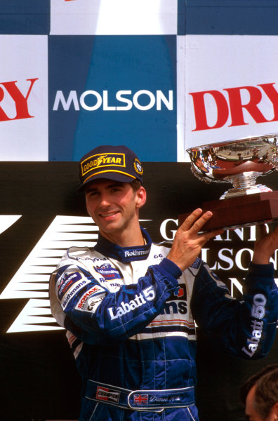 Montreal, Quebec, Canada.14-16 June 1996.Damon Hill (Williams FW18 Renault) 1st position, on the podium.Ref-96 CAN 04.World Copyright - LAT Photographic