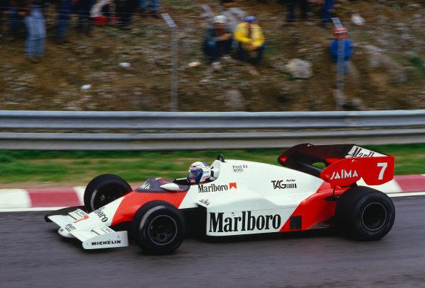 1984 Portuguese Grand Prix.Estoril, Portugal.19-21 October 1984.Alain Prost (McLaren MP4/2 TAG Porsche) 1st position.Ref-84 POR 17.World Copyright - LAT Photographic
