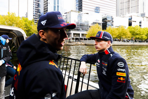 Max Verstappen, Red Bull Racing and Pierre Gasly, Red Bull Racing on the way to the Federation Square event.