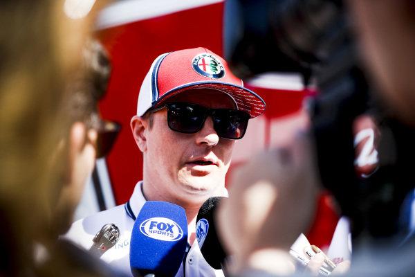 Kimi Raikkonen, Alfa Romeo Racing talks to the media
