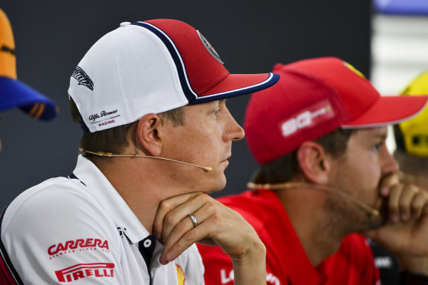 Kimi Raikkonen, Alfa Romeo Racing and Sebastian Vettel, Ferrari In the Press Conference