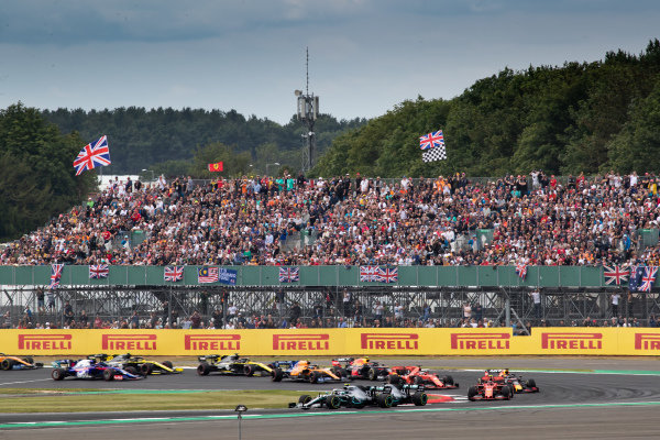 Valtteri Bottas, Mercedes AMG W10, leads Lewis Hamilton, Mercedes AMG F1 W10, and Charles Leclerc, Ferrari SF90, at the start of the race
