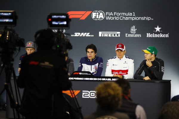 Brendon Hartley, Toro Rosso, Lance Stroll, Williams Racing, Marcus Ericsson, Sauber, and Stoffel Vandoorne, McLaren, are filmed in the Thursday drivers' press conference.