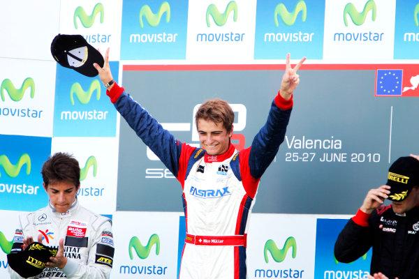 Round 3. Valencia, Spain. 27th June 2010.Sunday Race.Nico Muller, (Sui, Jenzer Motorsport) celebrates on the podium with Roberto Merhi, (ESP, Atech CRS GP) and James Jakes, (GBR, Manor Racing).Portrait. World Copyright: Glenn Dunbar/GP3 Media Service.Digital Image _G7C0766
