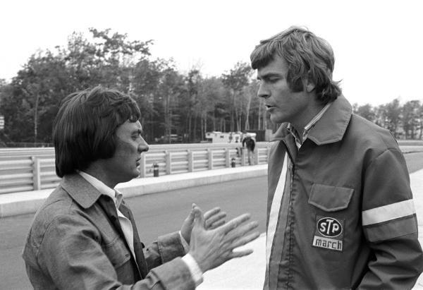 Brabham boss, Bernie Ecclestone(GBR) left, and March boss Max Mosley(GBR) US GP, Watkins Glen, 8 October1972