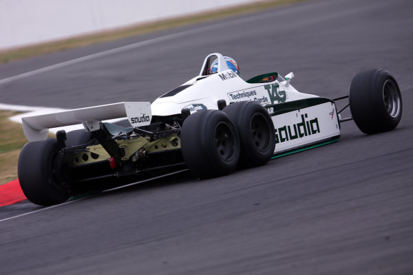 Silverstone, Northamptonshire, UK.  Saturday 15 July 2017. Paul di Resta drives a 1982 Williams FW08B Cosworth 6 wheeled F1 car in a parade as part of the Williams 40th Anniversary celebrations. World Copyright: Dom Romney/LAT Images  ref: Digital Image 11DXA7105