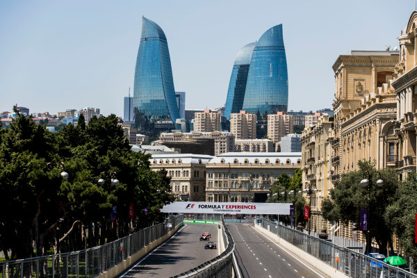 2017 FIA Formula 2 Round 4. Baku City Circuit, Baku, Azerbaijan. Friday 23 June 2017. Oliver Rowland (GBR, DAMS), Sergio Canamasas (ESP, Trident), Charles Leclerc (MCO, PREMA Racing). Photo: Zak Mauger/FIA Formula 2. ref: Digital Image _56I6648
