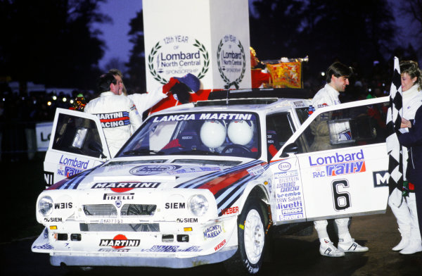 1985 World Rally Championship. Lombard RAC Rally, Great Britain. 24-28 November 1985. Henri Toivonen/Neil Wilson (Lancia Delta S4), 1st position, podium, portrait.  World Copyright: LAT Photographic.