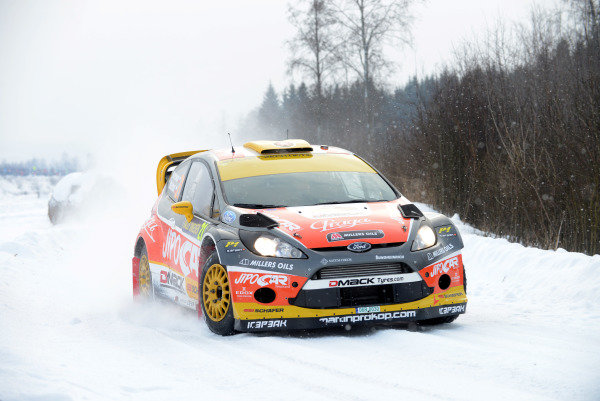 Martin Prokop (CZE) and Michal Ernst (CZE), Ford Fiesta RS WRC on stage 20. FIA World Rally Championship, Rd2, Rally Sweden, Karlstad, Sweden, Day Three, Sunday 10 February 2013.