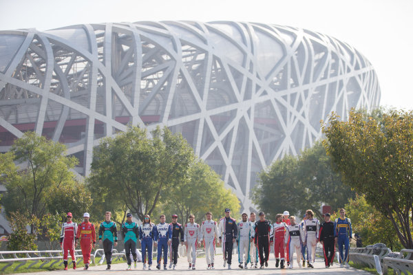 FIA Formula E Championship 2015/16. Beijing ePrix, Beijing, China. Official Formula E driver's group photo in front of the Bird's nest Olympic Stadium  Beijing, China, Asia. Friday 23 October 2015 Photo:  / LAT / FE ref: Digital Image _L2_3289