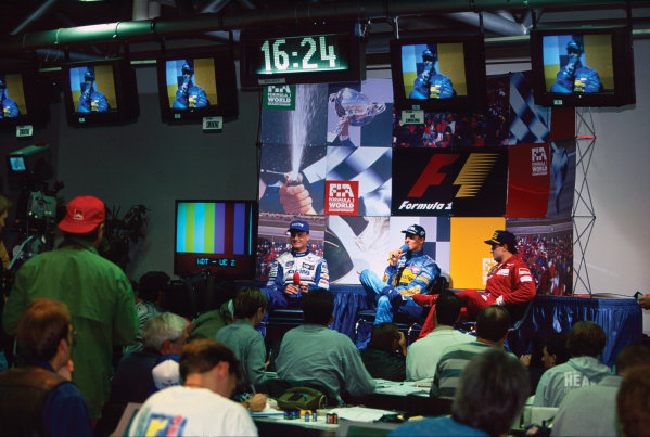 Nurburgring, Germany. 29th September - 1st October 1995. Michael Schumacher (Benetton Renault) 1st position, Jean Alesi (Ferrari) 2nd position and David Coulthard (Williams Renault) 3rd position in the press conference, portrait.  World Copyright: LAT Photographic. Ref:  95 EUR 12.