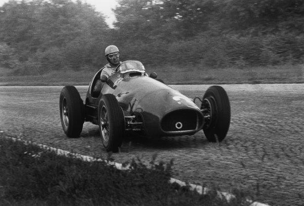 Monza, Italy. 5th September 1954.Alberto Ascari  (Ferrari 625), retired, action. World Copyright: LAT Photographic.Ref:  B/W Print.