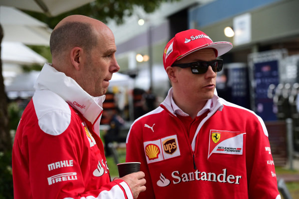 Jock Clear (GBR) Ferrari Chief Engineer and Kimi Raikkonen (FIN) Ferrari at Formula One World Championship, Rd1, Australian Grand Prix, Qualifying, Albert Park, Melbourne, Australia, Saturday 19 March 2016.