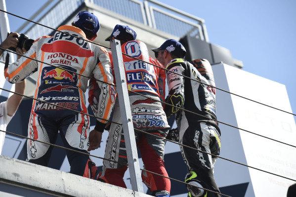 Podium: race winner Andrea Dovizioso, Ducati Team, second place Marc Marquez, Repsol Honda Team, third place Cal Crutchlow, Team LCR Honda.