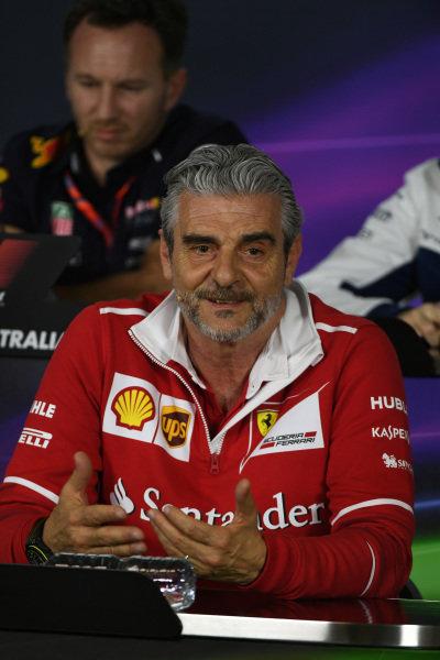 Maurizio Arrivabene (ITA) Ferrari Team Principal in the Press Conference at Formula One World Championship, Rd1, Australian Grand Prix, Practice, Albert Park, Melbourne, Australia, Friday 24 March 2017.