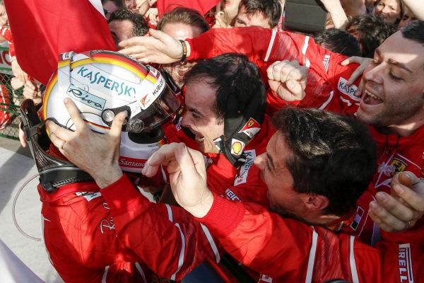 Race winner Sebastian Vettel (GER) Ferrari celebrates in parc ferme with the team at Formula One World Championship, Rd1, Australian Grand Prix, Race, Albert Park, Melbourne, Australia, Sunday 26 March 2017. BEST IMAGE