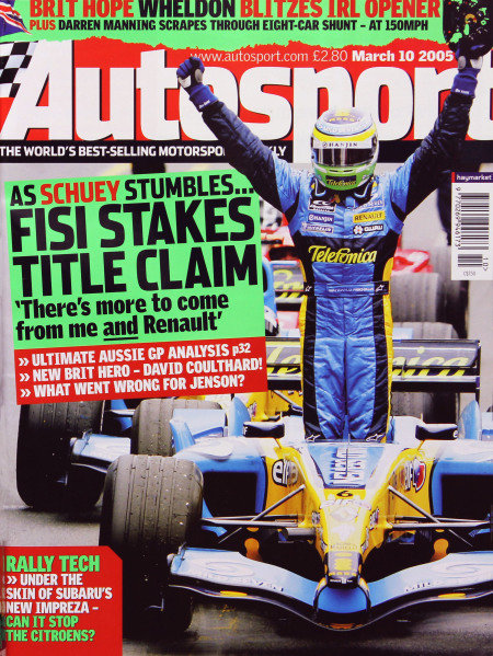 Cover of Autosport magazine, 10th March 2005