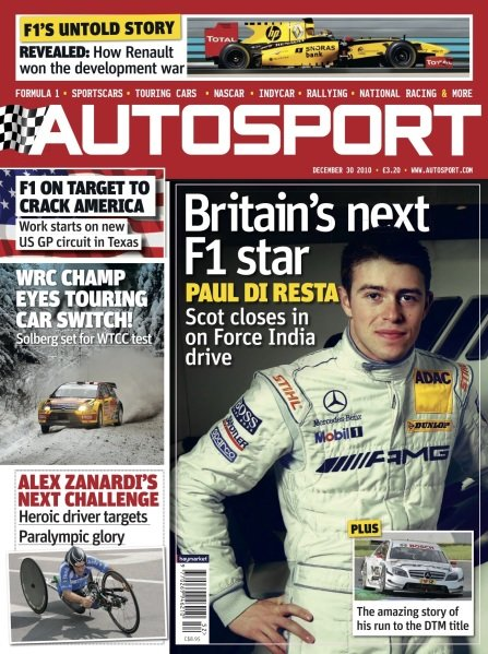 Cover of Autosport magazine, 2010