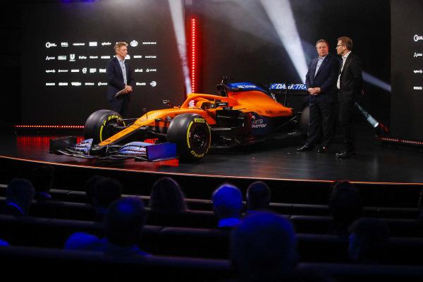 Simon Lazenby, Sky TV, Zak Brown, Executive Director, McLaren and Andreas Seidl, Team Principal, McLaren, at the McLaren MCL35 launch
