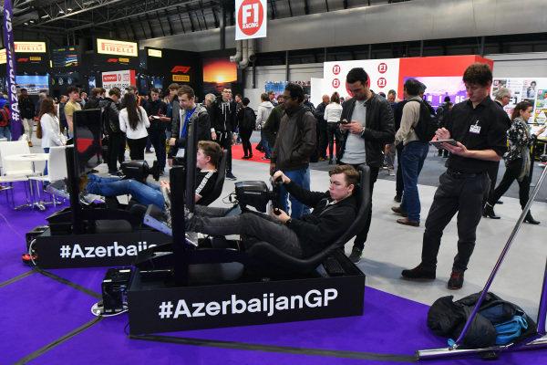 Simulators at Autosport International, Day One, NEC, Birmingham, England, Thursday 11 January 2018.